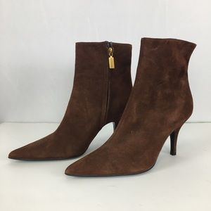 Bruno Magli Sueded Brown Heeled Booties Size 36.5